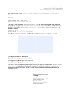 dmca takedown notice template sample - Free Legal Documents Templates